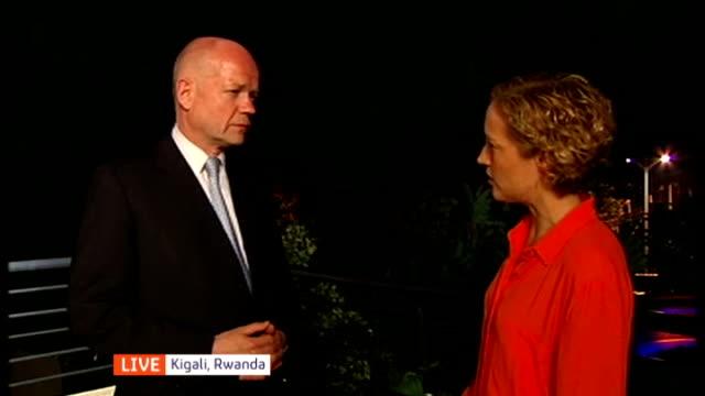 agony in aleppo; rwanda: kigali: ext / night william hague mp live interview sot - キガリ点の映像素材/bロール