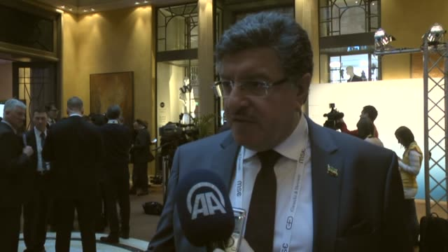 Syria's High Negotiations Committee spokesman Salem alMuslat speaks to the press at 52nd Munich Security Conference in Munich southern Germany on...