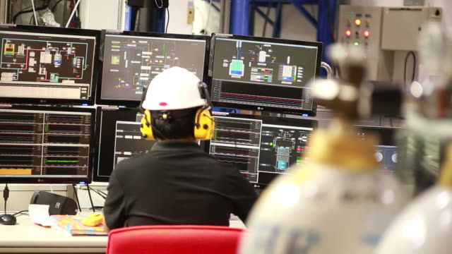 system control room monitoring - nuclear power station stock videos & royalty-free footage