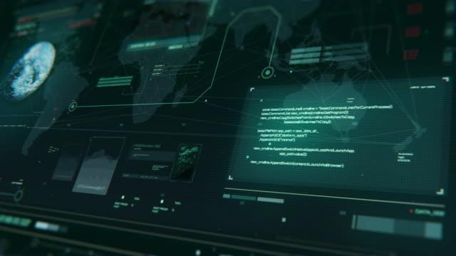 vidéos et rushes de système de détection des planètes inconnues et des objets cosmiques. hud la planète numérique de la cybertechnologie de données fond - transparent
