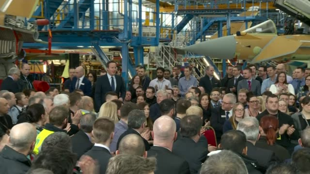 BAE Systems announces two thousand job losses LIB / 2522016 INT The Prime Minister David Cameron MP arriving to address workforce during the EU...
