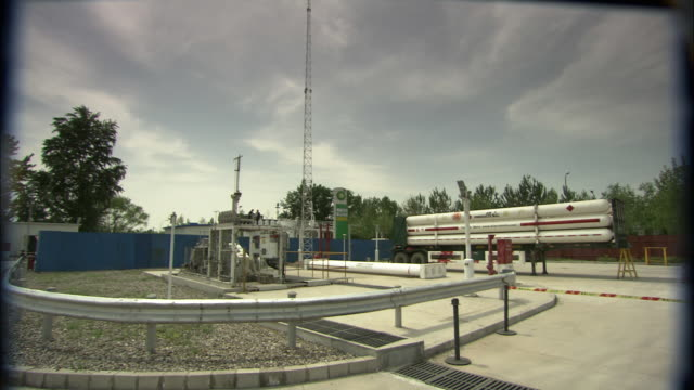 ws systems area behind hydrogen fuel pump station, beijing, beijing, china - pipeline stock-videos und b-roll-filmmaterial