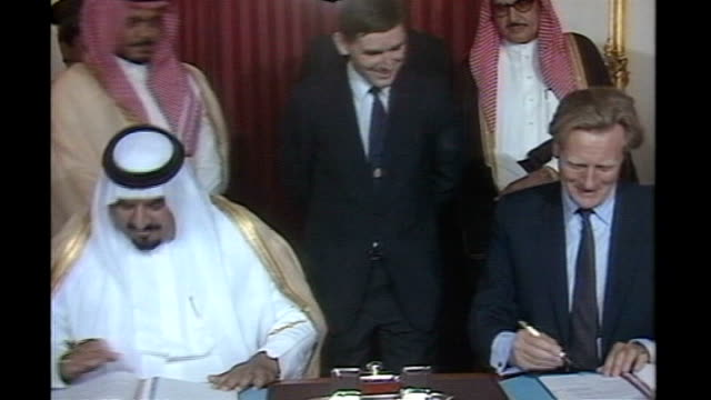 blair government guilty of 'abject surrender' for halting inquiry tx london lancaster house int prince sultan abdullah bin abdulaziz and michael... - sultan stock videos and b-roll footage
