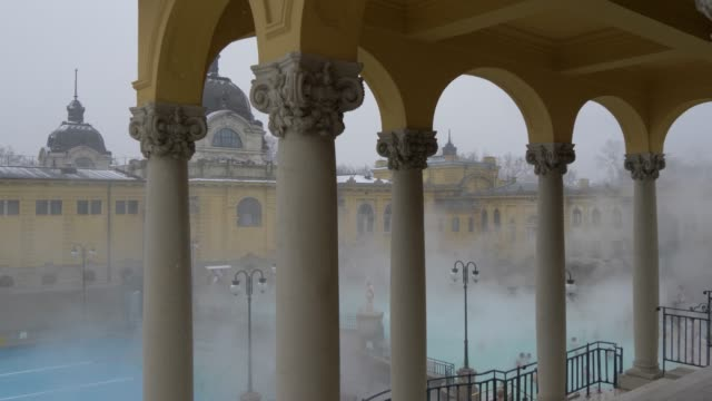 szechenyi thermal baths interior during winter, budapest, hungary, europe - budapest stock videos & royalty-free footage