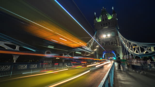 t4k time-lapse: pedestrian commuter crowd at tower bridge at twilight in london england uk - tower of london stock videos & royalty-free footage