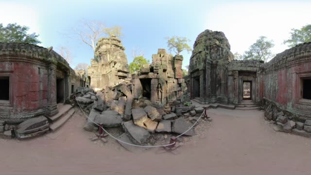 360 vr / ta prohm temple - monoscopic image stock videos & royalty-free footage