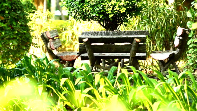 Table and chair in the garden relaxing