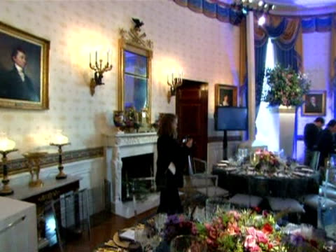 a table at the white house set for the third state dinner of the obama presidency in honour of chinese president hu jintao washington - state dinner stock videos and b-roll footage
