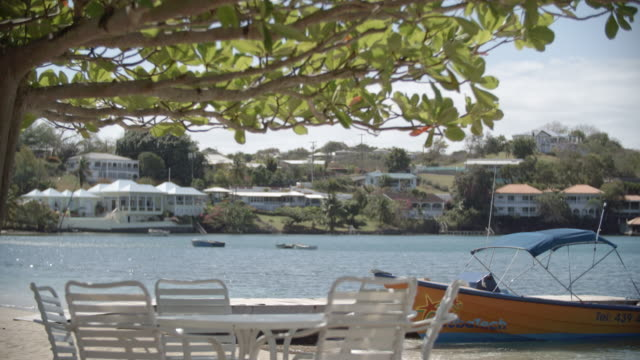 a table by the shore / grenada, caribbean - st. george's grenada stock videos and b-roll footage