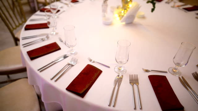 table decoration for a wedding evening - banquet hall stock videos & royalty-free footage