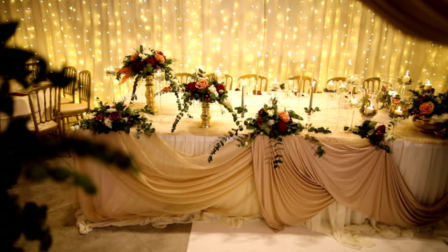 table decoration for a wedding evening - tablecloth stock videos & royalty-free footage