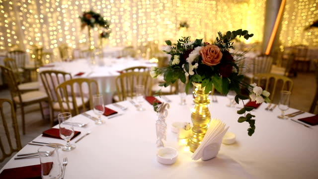 table decoration for a wedding evening - entertainment building stock videos & royalty-free footage