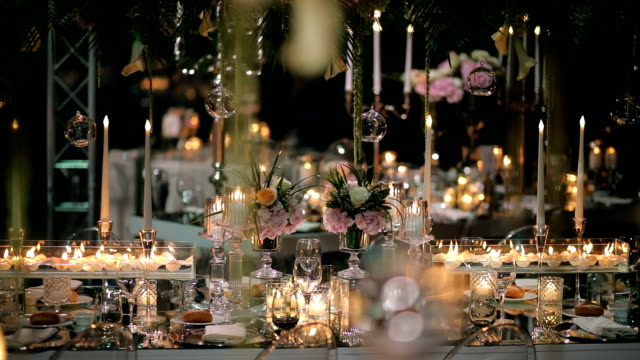 table decoration, wedding dinner, wedding ceremony - decoration stock videos & royalty-free footage