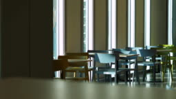 Table In Building Panning Shot