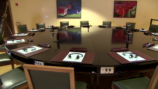 table in european economic and social committee conference room - blinds stock videos & royalty-free footage