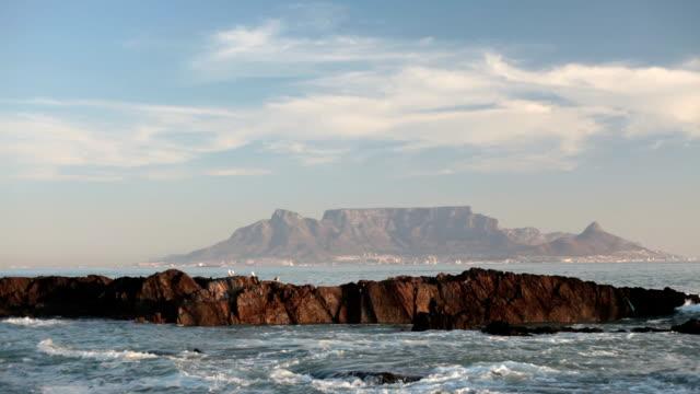 Table Mountain across the sea evening