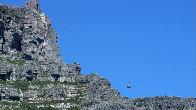 stockvideo's en b-roll-footage met table mountain kabelbaan - luchtfoto - west-kaap, stad van kaapstad, zuid-afrika - kabelwagen