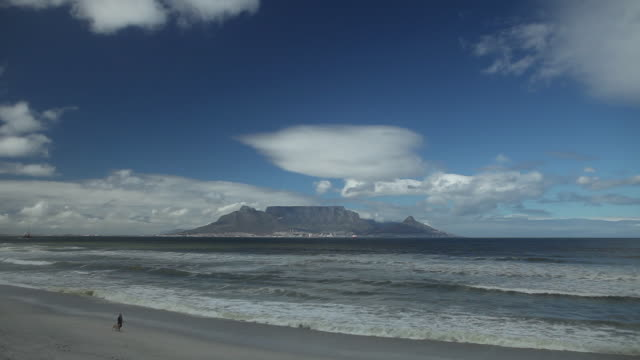 Table Mountain and man walking dog