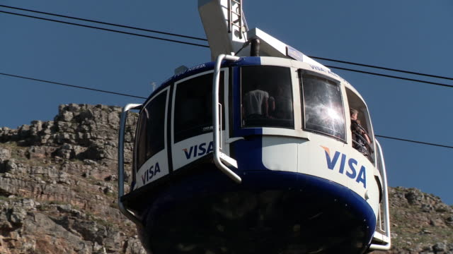 CU PAN Table Mountain cable car going up, Cape Town, Western Cape, South Africa
