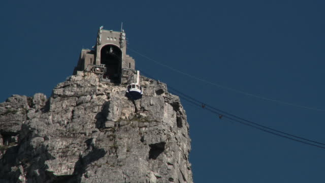 WS LA Table Mountain cable car reaching upper station, Cape Town, Western Cape, South Africa