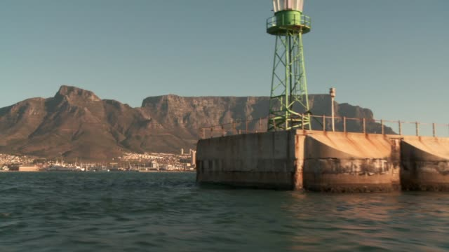Table Mountain, Devil's Peak and Lion's Head tower over Cape Town, South Africa. Available in HD.