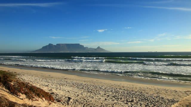 Table mountain in Cape town view from the beach