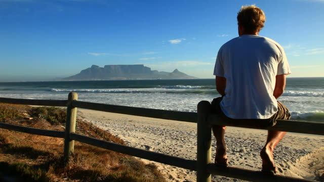 table mountain view in cape town - sitting stock videos & royalty-free footage