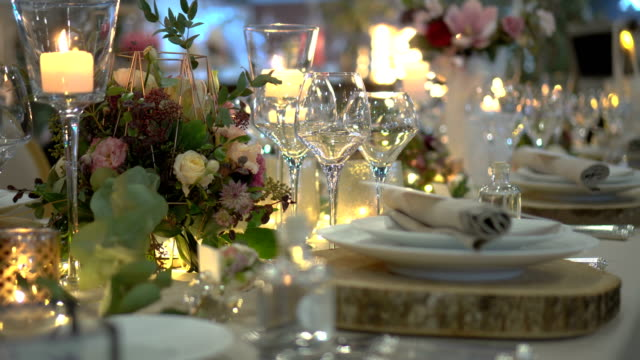 table party decoration - wedding stock videos & royalty-free footage