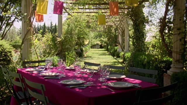 ms, table ready for dinner in a garden, saint ferme, gironde, france - lawn stock videos & royalty-free footage