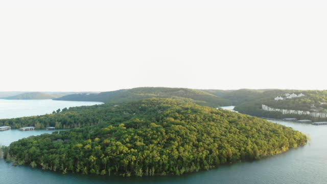 table rock lake aerial views drone 4k pov video missouri usa - missouri stock videos & royalty-free footage