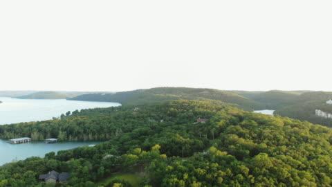 table rock lake aerial views drone 4k pov video missouri usa - missouri stock videos & royalty-free footage