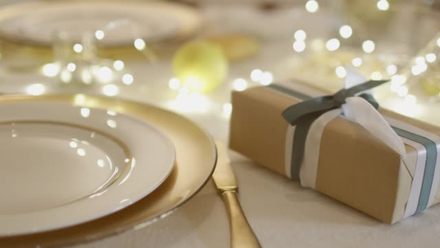 table set for christmas - christmas decoration stock videos & royalty-free footage