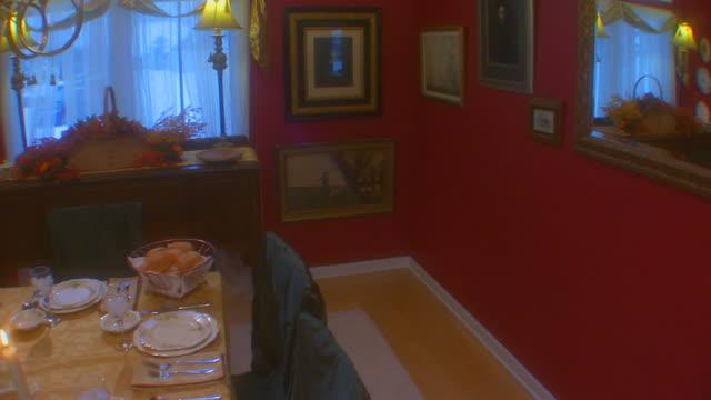 table set for thanksgiving, crane shot, slow motion - crane shot stock videos & royalty-free footage