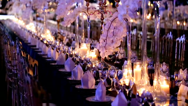 table set for wedding or another catered event dinner. - gourmet stock videos & royalty-free footage