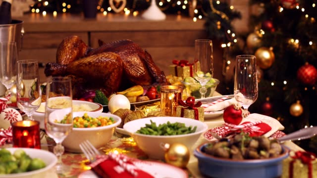 table set up for christmas dinner - roast chicken stock videos & royalty-free footage