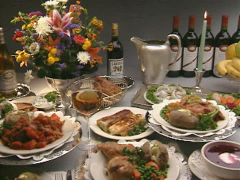 PAN MS Table set with assorted gourmet dinner entrees