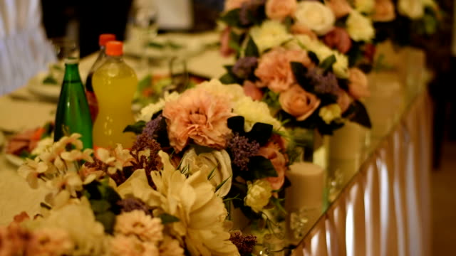 table setting at a luxury wedding reception - wedding reception stock videos & royalty-free footage