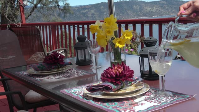 table setting for outside dining - setting the table stock videos & royalty-free footage