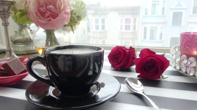 table setting with a city view for cozy coffee break - setting the table stock videos & royalty-free footage