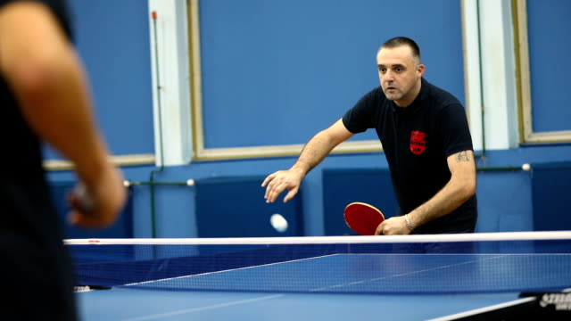 table tennis player with multiple sclerosis playing indoors - table tennis stock videos & royalty-free footage