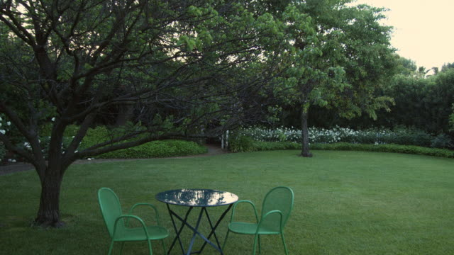 ms table with chairs in garden / los angeles, california, usa - domestic garden stock videos & royalty-free footage