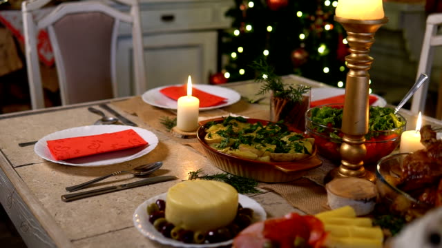 table with christmas decoration - table stock videos & royalty-free footage