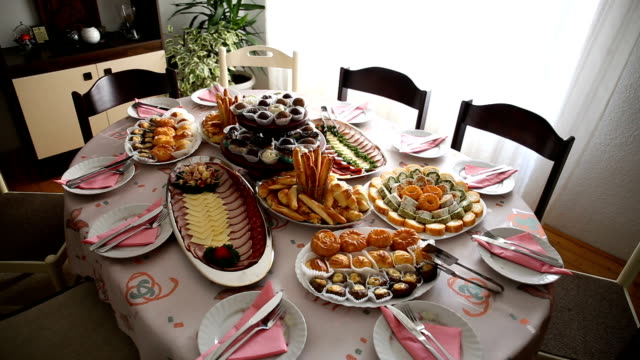 table with different food snacks and appetizer - caterer stock videos and b-roll footage