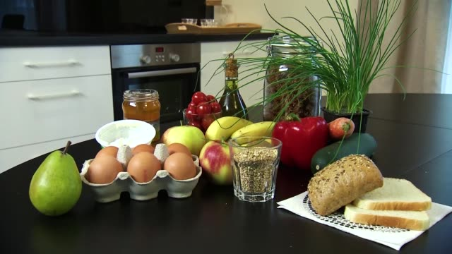 table with food products - drawer stock videos & royalty-free footage