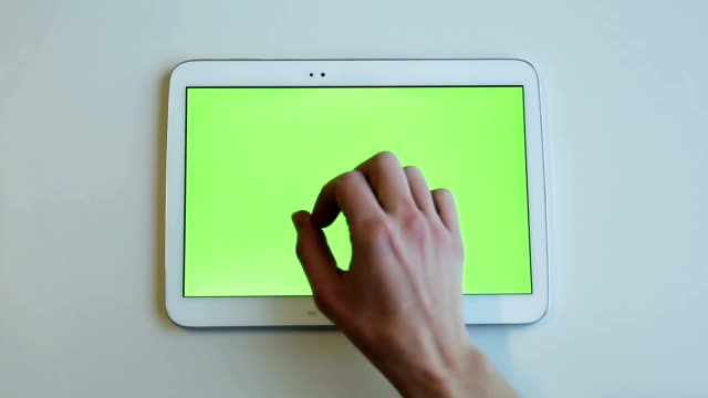 Tablet gestures with green screen