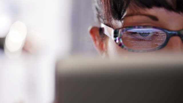 tablet user close up            bs inf cm th - eyeglasses stock videos & royalty-free footage