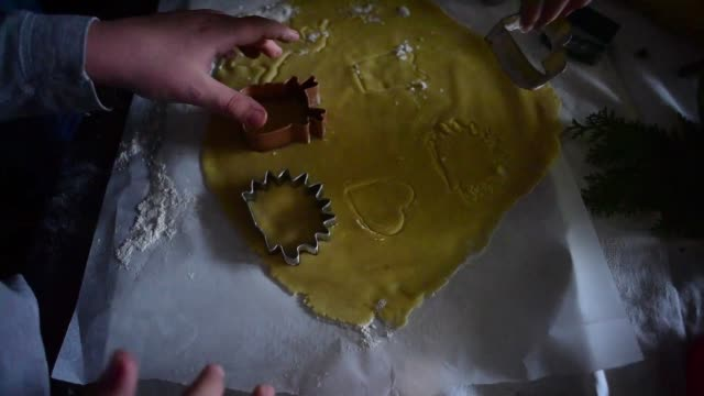 tabletop view of a kids baking cookies. - chocolate chip stock videos & royalty-free footage