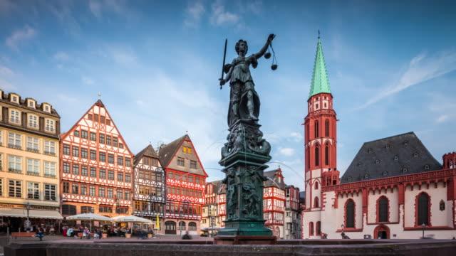 tacking shot: römerberg old town square in frankfurt - römerberg stock videos and b-roll footage