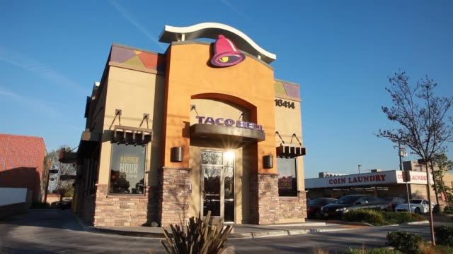taco bell yum brands locations in torrance calif united states on wednesday jan 29 wide shots of a taco bell restaurant location in torrance... - torrance stock videos & royalty-free footage
