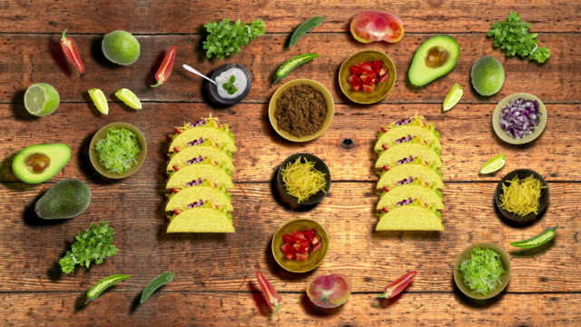tacos on a wood table background - crunchy stock videos & royalty-free footage